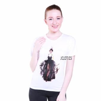 JCLOTHES Kaos Cewe / Tumblr Tee / Kaos Wanita Woman In Black - Putih