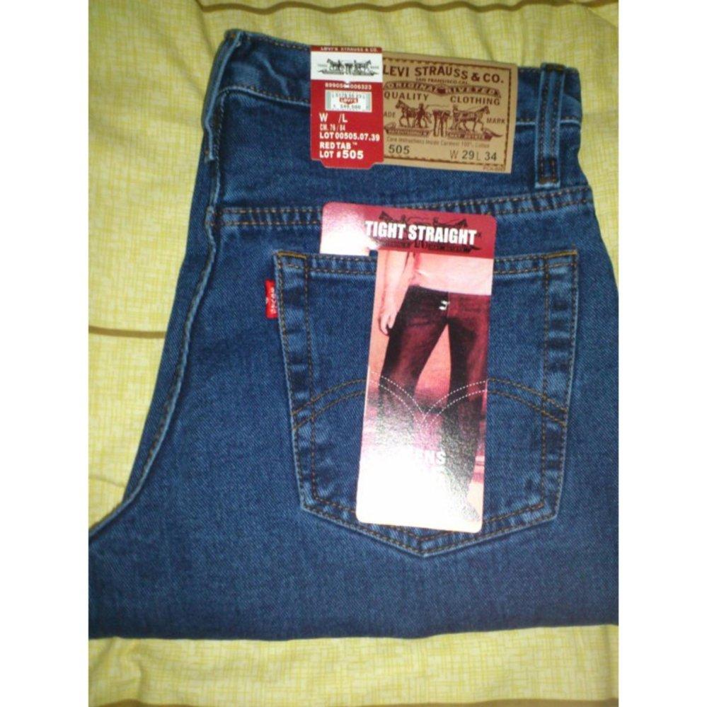 Eshop Checker Jeans Pria Reguler Standar Biru Gelap Bahan Terjamin Fashion Celana Panjang Jahitan Rapi Murah