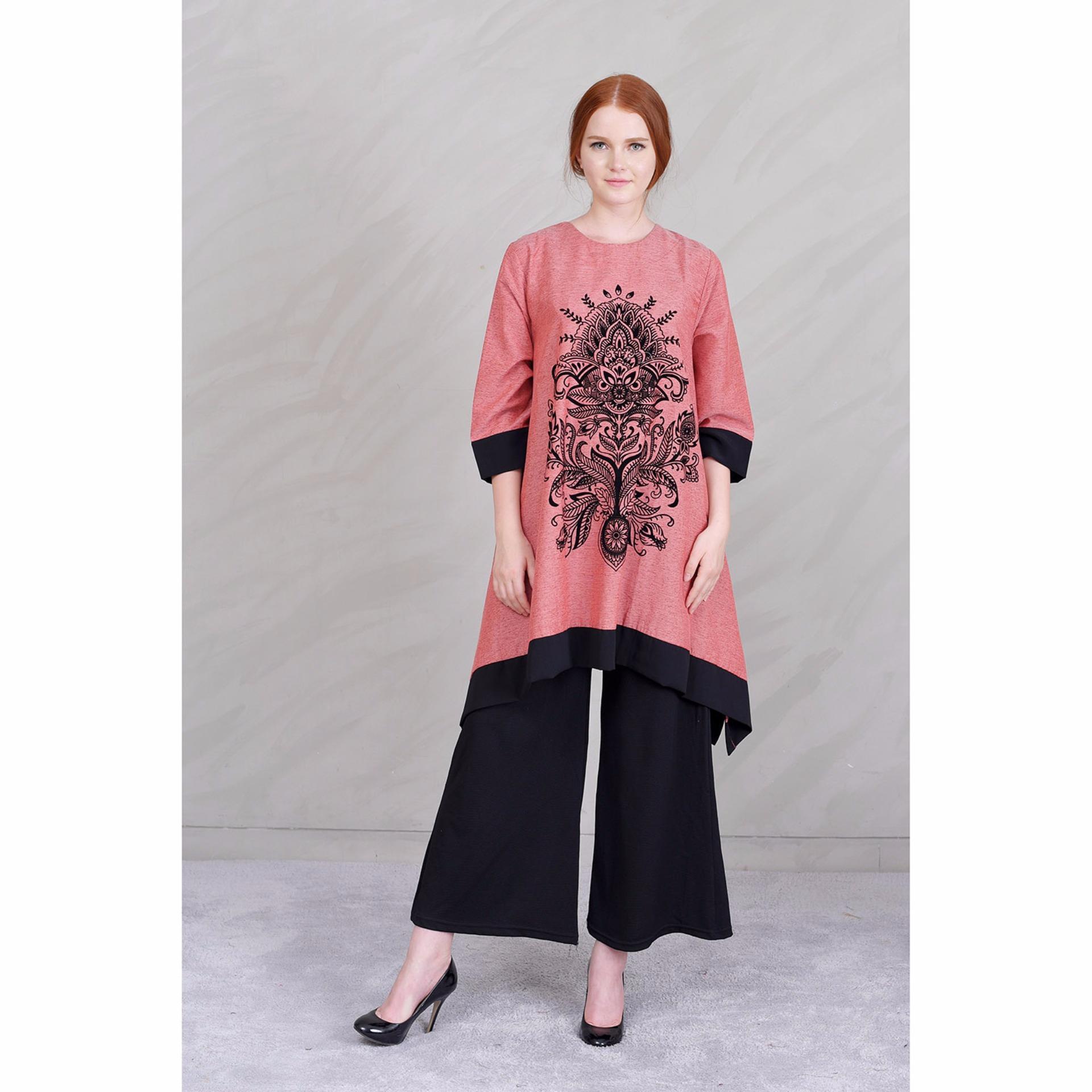 Jfashion New Wide Long Tunik Print Beludru 34 Sleeve Arimbi Pink Lakesha Dusty 3 4