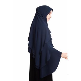Detail Gambar Jilbab Instan Khimar Syar'i Sabrina 3 Layer Hijab - Navy Terbaru