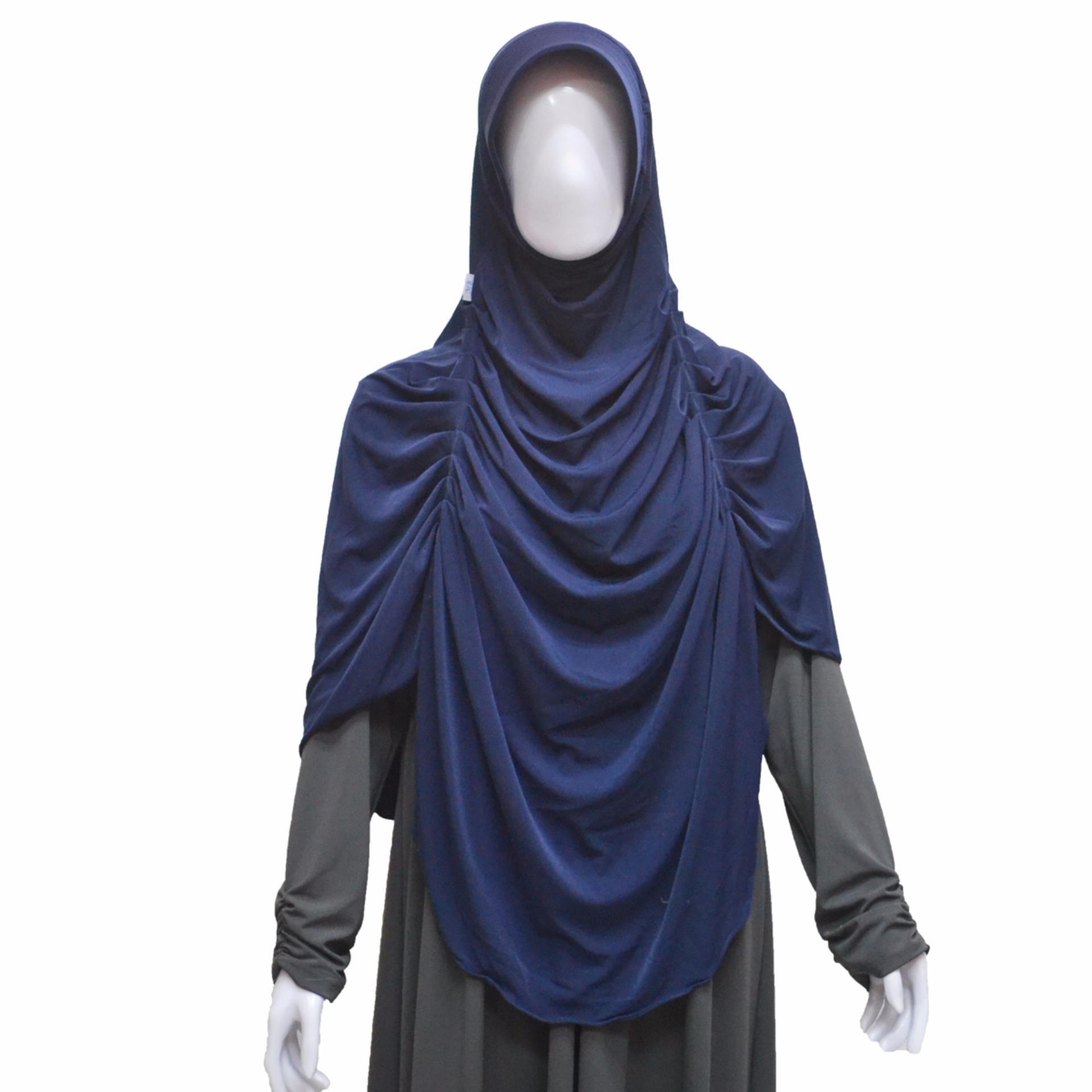 Jilbab Instan Serut Dada Karen Biru dongker