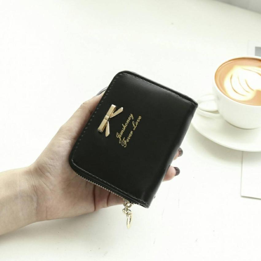 Jims Honey Dompet Kecil Fashion Mini Ribbon Wallet Black .
