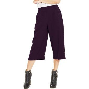 JO & NIC Allison Midi Culotte Pants - Celana Kulot Wanita - DarkPurple