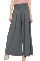 JO & NIC Celana Wanita Kulot Allsize Pleated Long Culotte Pants - Fit to Big Size - Grey