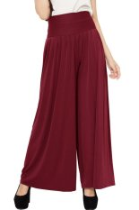 JO & NIC Celana Wanita Kulot Allsize Pleated Long Culotte Pants - Fit to Big Size - Maroon