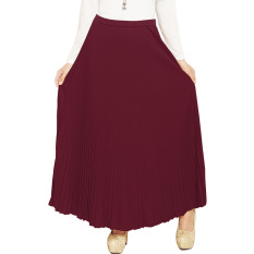 JO & NIC Pleated Long Skirts - Rok Panjang Lipit Fit to XL - Maroon