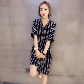JOY Korea Korean fashion Leisure stripe big size dress Black - intl