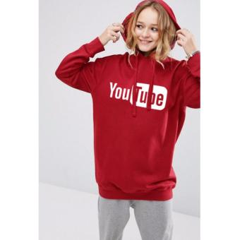 Just Cloth Women Jaket Pullover Hoodie Social Media Youtube - Merah