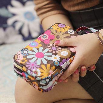 Kain tahan air layar besar handphone tas clutch tas (Bunga warna)