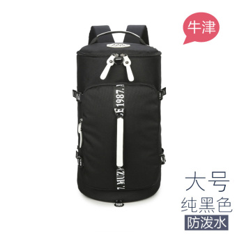 Kanvas tas bahu tas kapasitas besar perjalanan tas ransel (Anti air hitam besar)