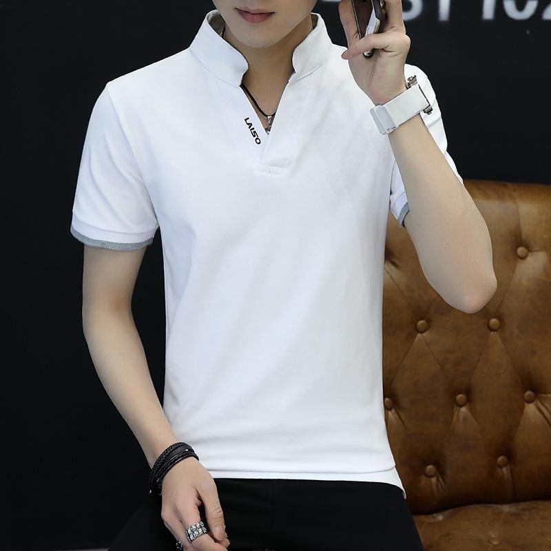 Kaos Oblong Pria Katun Murni Lengan Setengah Kerah Berdiri Membentuk Tubuh Santai (Putih)