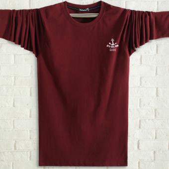 Kaos Pria Paruh Baya Katun Murni Lengan Bulat Longgar Ukuran Sangat Besar (Anggur merah)