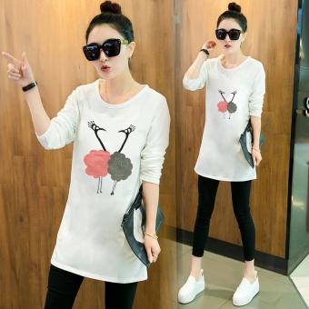 Kaos Wanita Lengan Panjang Model Panjang Sedang Longgar Gaya Korea (Putih)