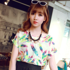 Kaos Wanita Lengan Pendek Motif Cetak Model Longgar Gaya Korea (Bulu warna)