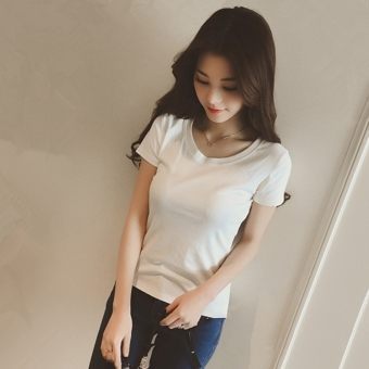 ... Kaos Wanita Lengan Pendek Satu Warna Kerah Bulat Pas Badan Gaya Korea Putih 831