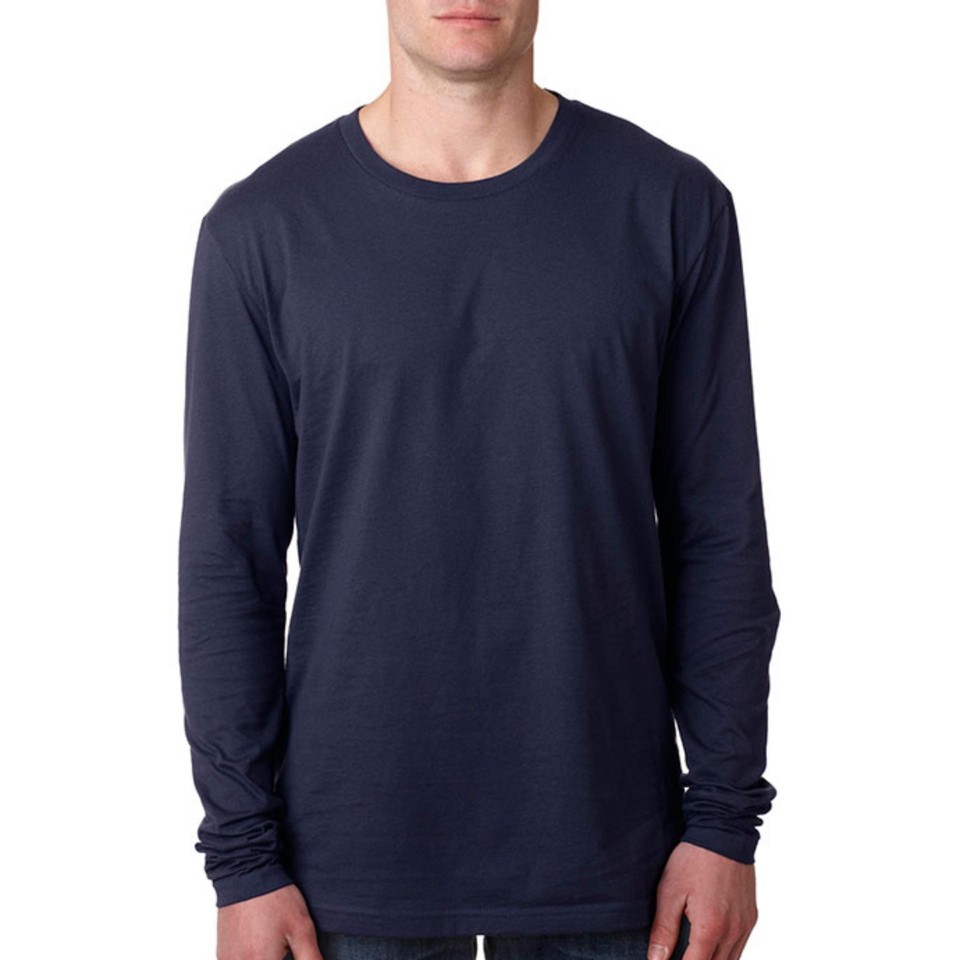 KaosBRO Kaos T-Shirt O-Neck Lengan Panjang Slim - Biru .