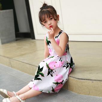 Kapas baru anak-anak gaun putri gadis gaun (Merah muda lemon)