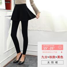 Kapas pakaian luar wanita musim gugur ayat pantyhose rok bottoming celana (Hitam sembilan poin musim