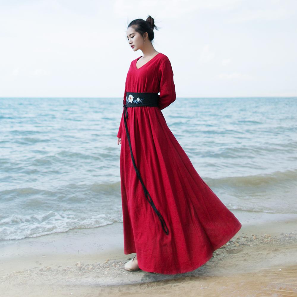 Kapas retro Slim tipis perempuan rok lengan panjang gaun (Merah)