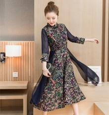 Kapas sastra model semi longgar perempuan gaun ditingkatkan gaun cheongsam (Departemen bunga kecil)