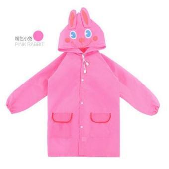 Kartun Anak Bayi Balita Berkerudung Jaket Hujan Ponco Jas Hujan(Berwarna Merah Muda) - 2