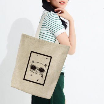 Kartun asli siswa bahu Shishang kanvas tas kanvas tas (Hitam dan putih segitiga kucing tas)