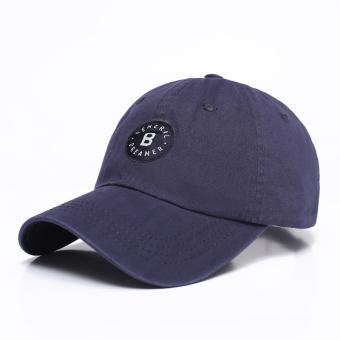 Kasual kapas pria musim panas topi baseball topi topi (Biru tua)