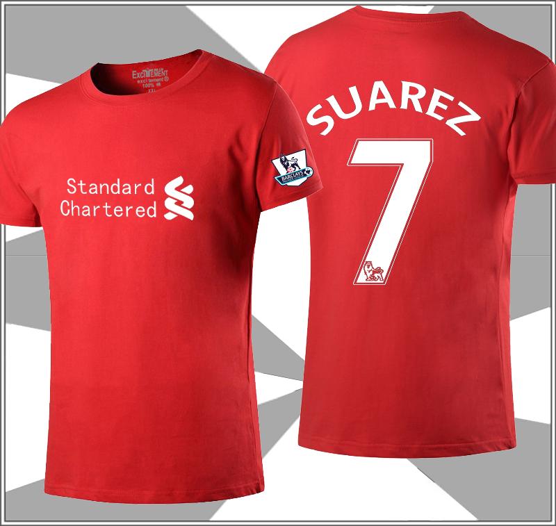 Flash Sale Kasual katun sepak bola laki-laki t-shirt (Liverpool Suarez merah