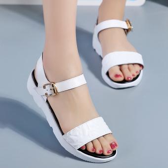 harga Kasual kulit datar dengan wanita hamil sepatu versi Korea sandal (Putih) Lazada.co.id