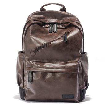 Kasual kulit pria perjalanan luar ruangan tas bahu tas ransel (Coklat)