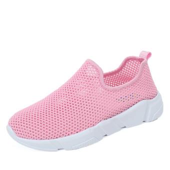 Kasual musim panas jala sepatu pedal jala sepatu sepatu pria (Merah muda [] model perempuan lubang kecil jaringan)