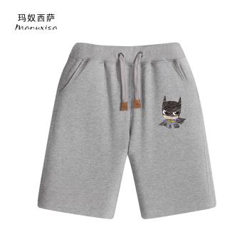 Gambar Kasual warna solid musim panas pria kasual celana pendek (Kecil standar Batman abu abu