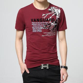 Penawaran Bagus Katun pria untuk meningkatkan kode pria lengan pendek t- shirt (Anggur merah