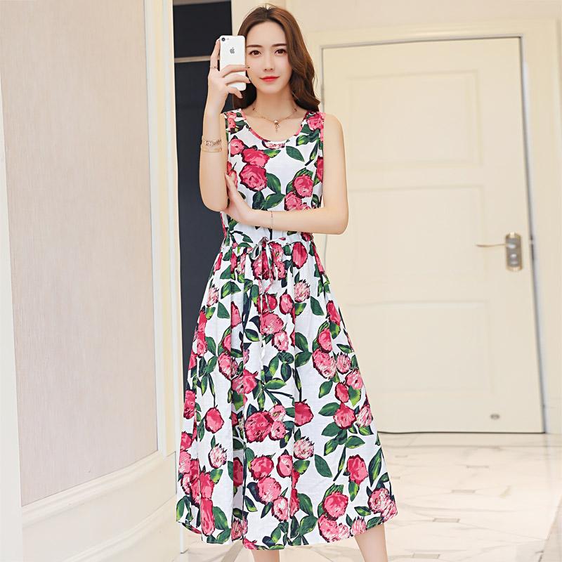 Katun tanpa lengan bagian panjang longgar linen gaun rok rompi (Nomor 9 warna)