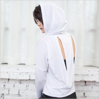 Jual Kebugaran Berkerudung Lengan Panjang Pakaian Yoga Kebugaran T-shirt (Putih) (Putih) Ori
