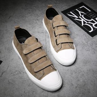 Kebugaran Korea Fashion Style kulit pria Velcro sepatu pria sepatu (Khaki)
