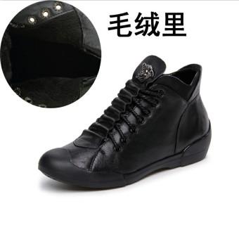 DISKON Kebugaran Korea Fashion Style perempuan kulit datar sepatu sepatu sepatu (Hitam (ditambah rambut)) TERPOPULER
