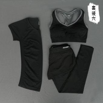 Kebugaran luar ruangan berjalan perempuan tipis pakaian yoga kebugaran pakaian yoga (Hitam 2)