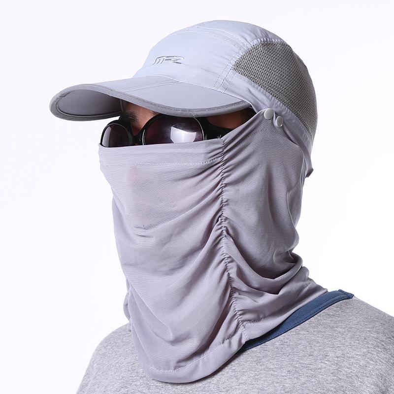 Cheap online Kebugaran luar ruangan perlindungan leher topi matahari lipat  matahari topi topi (Abu-abu terang) 221ce81d67