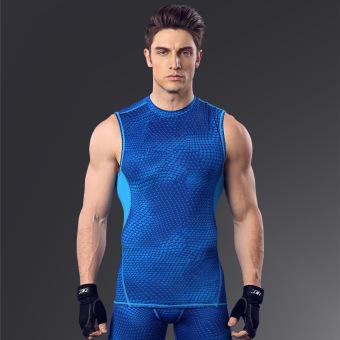 Kebugaran MA21 laki-laki basket berjalan pakaian pelatihan cepat kering pakaian kebugaran pakaian (Biru garis biru)