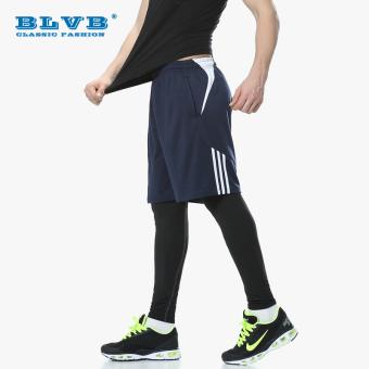 PENAWARAN Kebugaran pelatihan basket bottoming celana legging celana (Biru tua (legging celana dari celana pendek rambut bawaan salah satu ukuran yang lebih besar)) TERMURAH