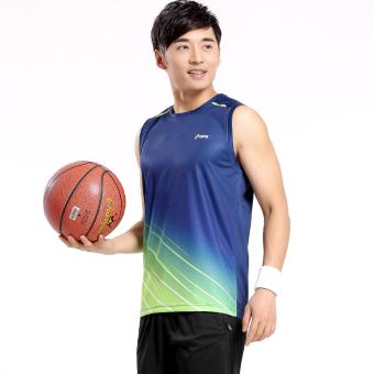 Kebugaran pria kasual rompi celana pendek pakaian olahraga bernapas tanpa lengan basket pakaian (Biru NAVY)