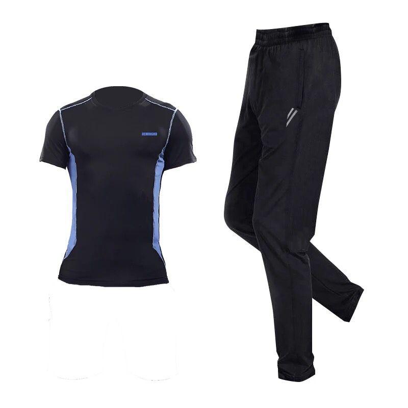 Kebugaran pria kebugaran berjalan pelatihan kebugaran basket pakaian kebugaran pakaian (18 biru hitam celana jas