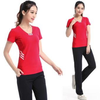 Jual Kebugaran Slim tipis lengan pendek celana panjang musim panas kebugaran pakaian ((Big Red 6230 + hitam 313)) Terpercaya