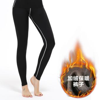 Gambar Kebugaran Wanita Legging Pakaian (WPL BS garis abu abu celana panjang ditambah celana beludru