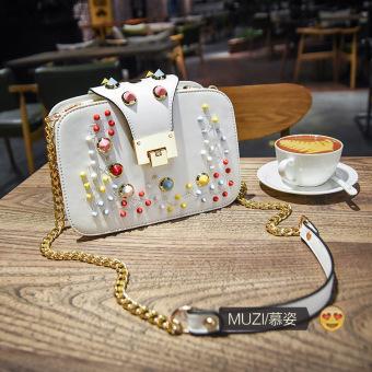 Kecil persegi bordir handphone Mini rantai tas tas (Putih warna paku keling)