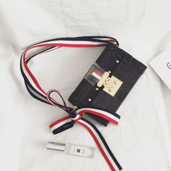 Kecil persegi Korea tas mini kecil kotak tas tas retro tas (Hitam)