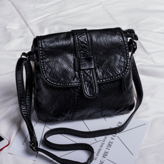 Kecil persegi liar Dicuci kulit wanita Mini tas tas (Hitam) (Hitam)