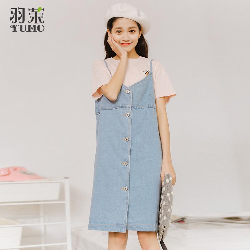 Flash Sale Kecil segar denim bulu single-breasted tali rok gaun tali (Cahaya biru