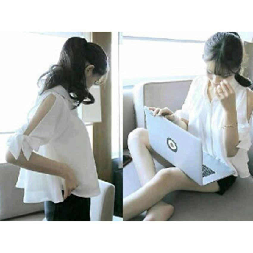 Kedai_baju Blouse Murah / Atasan Wanita / Kemeja Laptop - Putih